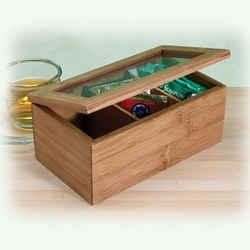 Boîte à rangement pour le thé en bambou