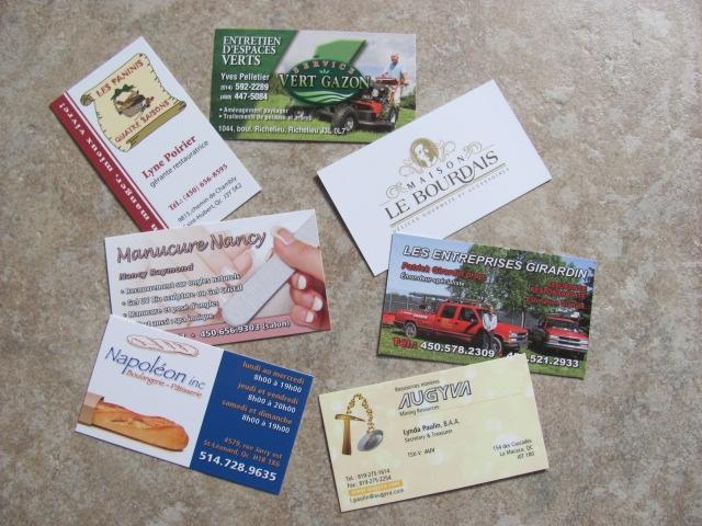 cartes d'affaires